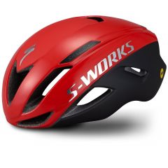 Casca SPECIALIZED S-Works Evade with ANGi - Satin/Gloss Flo Red/Chrome