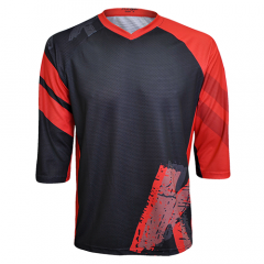 Tricou FUNKIER Dolomiti-K Enduro Kids 3/4 sleeve - Black/Red